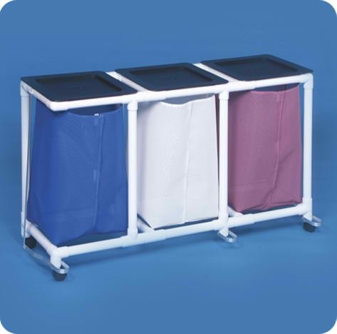 Standard Line Triple Linen Hamper with Foot Pedal - VLLH3FPWBM - Wineberry Mesh Velco-Front Bags