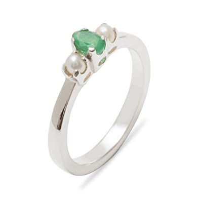 051ae3f99 9ct White Gold Natural Emerald & Cultured Pearl Womens Trilogy Ring - Size  J -Sizes