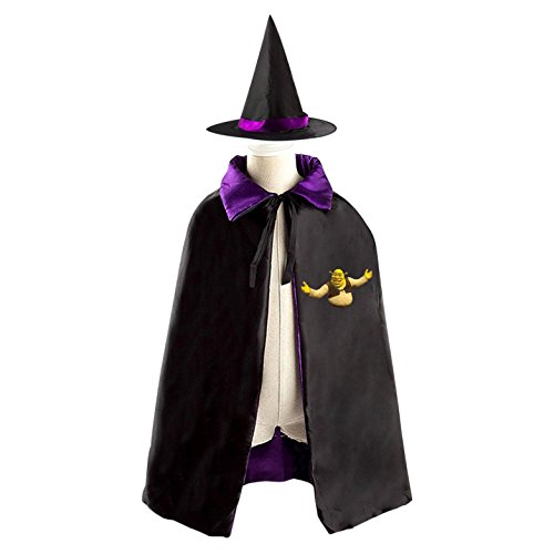 Double Dare Costume Ideas (Halloween Shrek Wizard Witch Kids Childrens' Cape With Hat Party Costume Cloak purple)