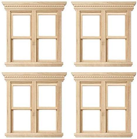 MyTinyWorld 4 x Dolls House Miniature Opening Double Sash Wood Windows