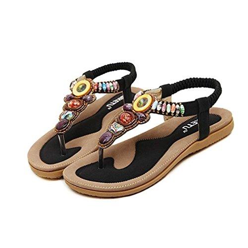 Womens Sandals ,Clode®1 Pair Women's Boho Rhinestones Embellishment Y-Strap Thong Sandals For Women