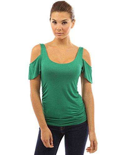 tagliato PattyBoutik camicetta di paletta Medio manicotto del flutter Verde Donne collo wwHOFqCt