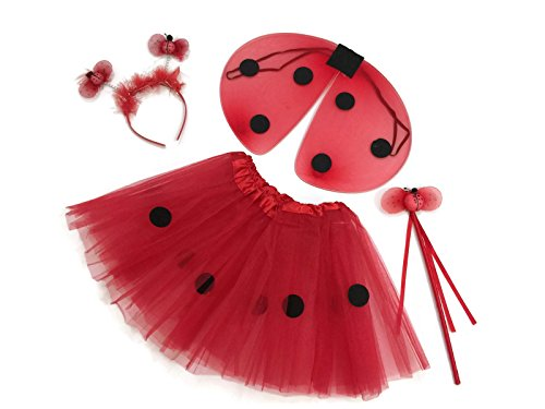 [Rush Dance Red & Black Ladybug Princess Fairy- Wings, Wand, Headband & Tutu (Kids (2-6 Years Old), Ladybug Red &] (Cute Kids Dance Costumes)
