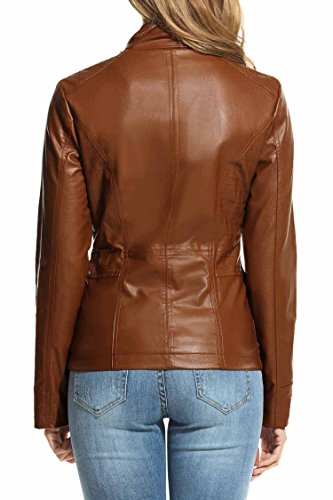 HOTOUCH Womens Faux Leather Zip Up Moto Biker Jacket Coffee M by Hotouch (Image #4)