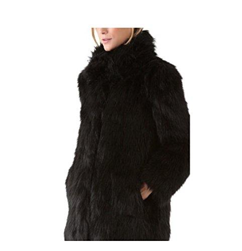 Chaqueta de de de Invierno de de Abrigos Abrigo Sintética Sólido Piel Black Largo Piel Mujer Simple Abrigo Larga Largo Manga 8pwq0f6