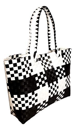 Large Plaid Check Tote Bag Handbag Handmade Woven Plastic Beach Basket (Black/White Plaid) ()