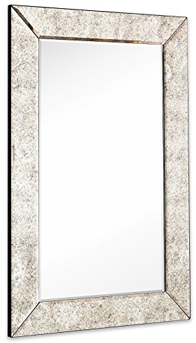 (Large Antiqued Framed Wall Mirror 3.5 inch Antique Frame Rectangular Mirrored Glass Panel | Premium Beveled Silver Backed Mirror Vanity, Bedroom, or Bathroom Hangs Horizontal & Vertical (24