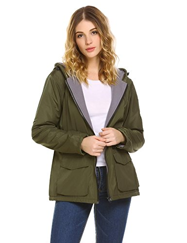 sholdnut Womens Zip Up Fleece Lined Outdoor Waterproof Hooded Windbreaker (Fleece Lined Anorak)
