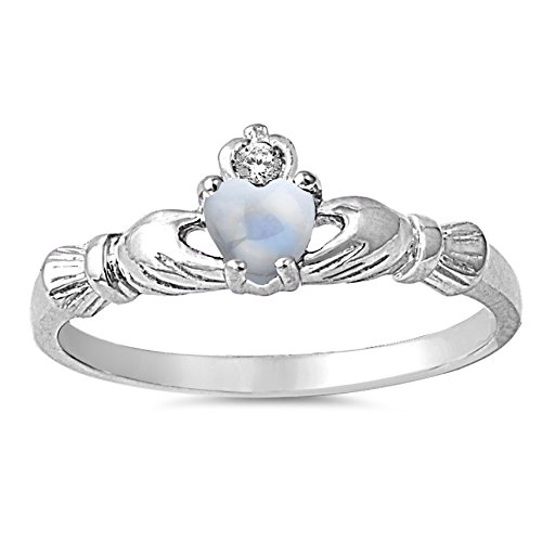 Cabochon Natural Genuine White Moonstone Claddagh Heart Promise Ring Size 5 (Genuine Birthstone Ring)