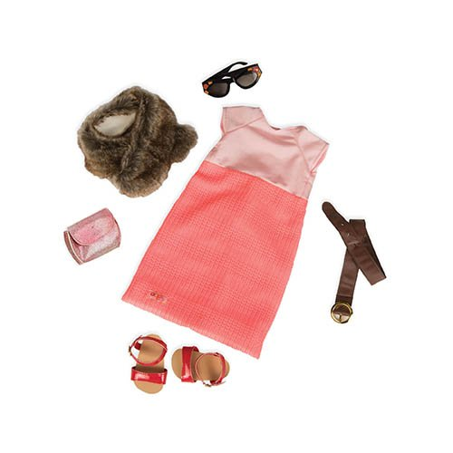 Our Generation Dolls Truly Groovy Pink Skirt Top with Fur...