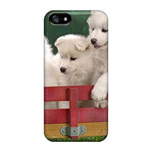Iphone High Quality Tpu Case/ Wagonload Of Samoyed Puppies UYIIyfk7843nzPOO Case Cover For Iphone 5/5s