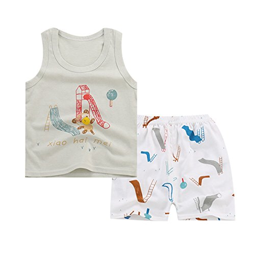 JanLEEsi Baby Vest and Shorts Infant Summer Clothing Set,Bear,12-15 (Lovely Cotton Short)