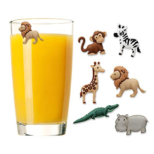 Safari Animal Charms - Claim Your Glass SAFARI ANIMALS Cocktail/Wine Charm Drink Markers, Set of 6 - Magnetic Drink Markers for Stemmed or Stemless Glasses