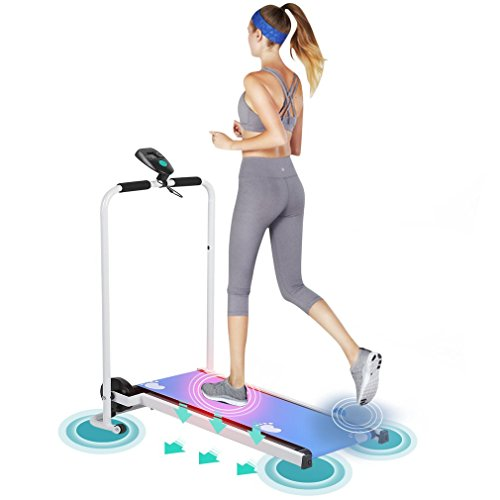 Running Machine Mechanical Mini Mute Folding Confidence Running Jogging Treadmill Training Equipment Home Fitness Machine with Ergonomic Design(White and Blue)