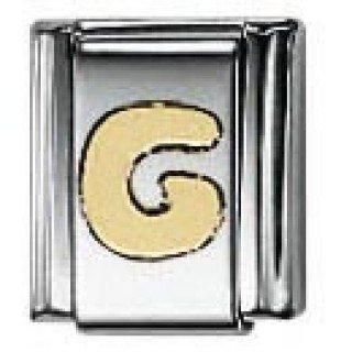 Nomination Composable Classic Letter G Stainless Steel and 18K Gold aUS1cYiim