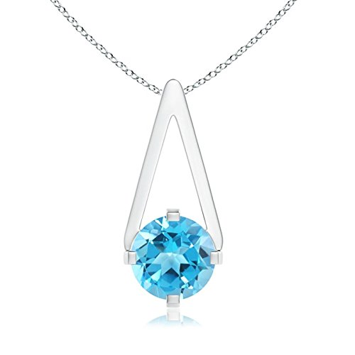 Flat Prong-Set Solitaire Swiss Blue Topaz Triangle Pendant Necklace for Women in 14K White Gold (6mm Swiss Blue (Blue Topaz Triangle Pendant)