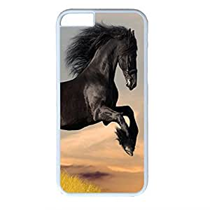Hard Back Cover Case for iphone 6,Cool Fashion Art White PC Shell Skin for iphone 6 with Black Horse