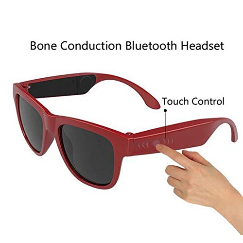 Glasses Polarized Sunglasses Bluetooth Bone Conduction Headset Smart Health Sports Wireless Headphones&Microphone,Red