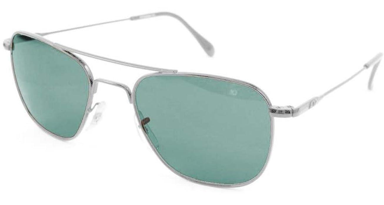 AO Original Pilot Sunglasses, Wire Spatula, Silver Frame, Green ...
