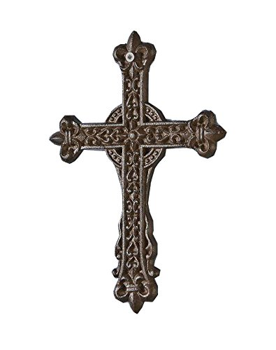 Cast Iron Wall Cross (Gift Craft Textural Antique Brown Cast Iron Wall)
