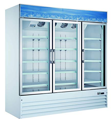 Omcan 50052 Commercial Reach In Refrigerator 78 inch 3 Door Swing Glass Cooler