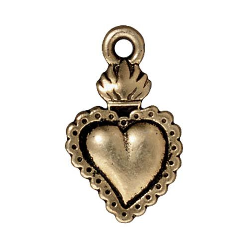 (TierraCast Brass Oxide Finish Lead-Free Pewter Dia De Los Muertos Sacred Heart Pendant Charm 22mm (1))