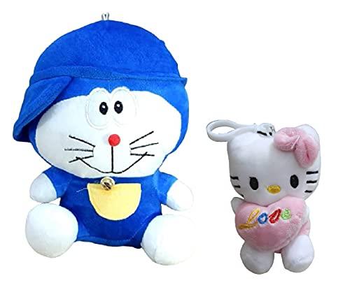 Doremon Stuffed Soft Toy  30 cm, Blue  + Soft Toy  25 cm, Pink, White