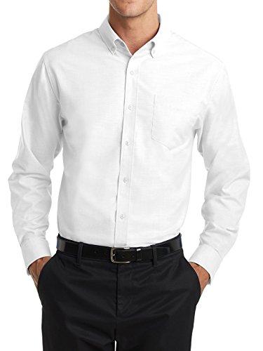 Men's Long Sleeve Uniforms Wrinkle Free SuperPro Oxford Button Down Collar Shirt White - Wrinkle Long Free Oxford Sleeve Shirt