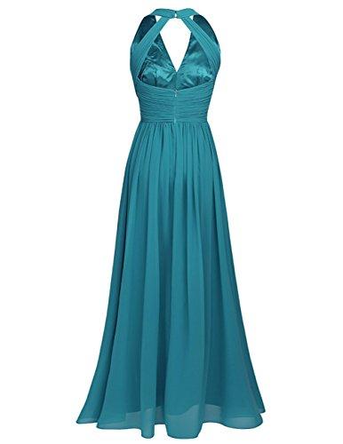 iEFiEL Vestido Elegante de Boda Fiesta Cóctel para Mujer Dama de Honor Vestido Largo Verano Escote V Verde Azulado