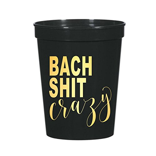 Bach Shit Crazy, Bach Shit Crazy Bachelorette Party Cups, Funny Bachelorette Party Decorations, Plastic Cups, Set of 12, Fun Bachelorette Party Decor