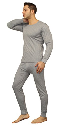 oft 100% Cotton Thermal Underwear Long Johns Sets - Waffle - Fleece Lined (Large, Fleece Lined - Heather Grey) (Cotton Thermal Long Underwear)