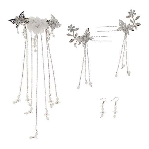 Prettyia 3 Pieces Retro Chinese Japanese Hair Stick Hairpin Jewelry Costume Accessories Set - ()