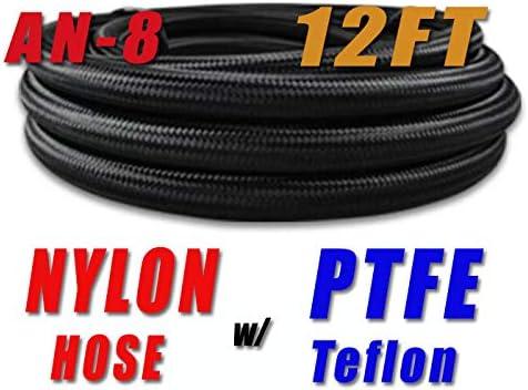 8 AN-8 Swivel PTFE Fitting Black Nylon PTFE Fuel Line Hose Kit 12FT 3.5 Metre NLPTFEAN8/_KIT/_XIAO