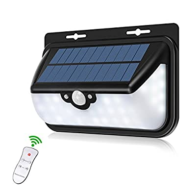 Glückluz Solar Lights Outdoor Wireless LED Motion Sensor Wall Security Lighting with Remote Control 120 Degree Wide Angle Waterproof Super Bright Lamp for Patio Garden Porch Pathway Garage Backyard