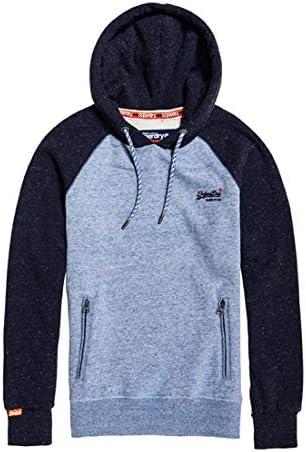 huge discount 15845 7b083 Superdry Men's Orange Label Raglan Pullover Hoodie, Blue, S ...