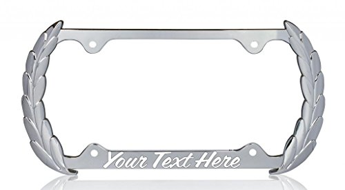 - Decorative Steel Chrome PERSONALIZED Wreath Auto Plate Frame w/coffee white font