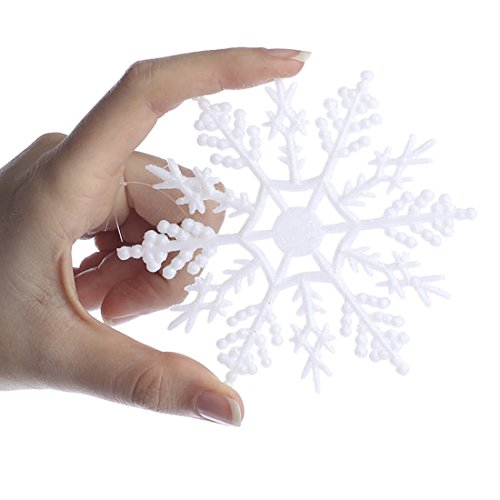 Factory Direct Craft Package of 40 Plastic White Glitter Covered Snowflake Ornaments for Winter Weddings, Tree Trim, and Decorating