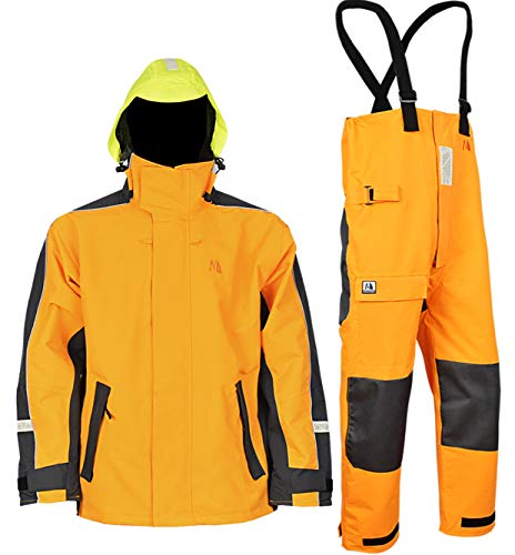 Gill Foul Weather - Navis Marine Waterproof Sailing Jacket and Trousers Foul Weather Gear Rain Suit Breathable Windproof (Gold, XXL)
