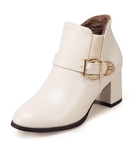 VogueZone009 Damen Mittler Absatz PU Rein Rund Zehe Ziehen auf Stiefel, Grau, 35