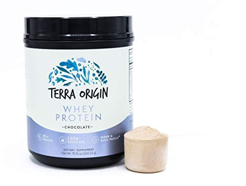 Terra Origin, 100% Grass-Fed, Whey Protein Powder, Chocolate, 15 Servings, Isolate and Concentrate Blend, Repair and Build Muscle, 24g Protein