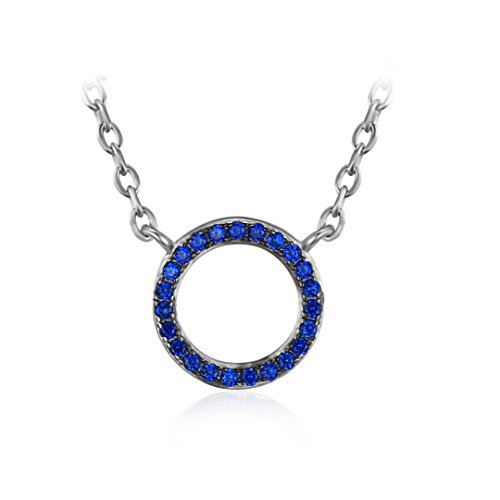 Round 0.1 Ct Created Blue Spinel Long Necklace Pendant S925 Sterling Silver Chain For Women Gemstone Fine Jewelry 0.1 Ct Gemstones