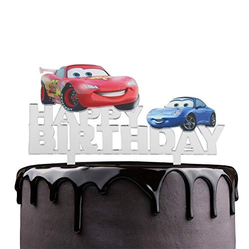 Lightning Mcqueen Happy Birthday Cake Topper - Disney / Pixar Cars Theme Party Cake Décor - Baby Shower Kids Birthday Party Supplies - Adorable Toy Car Mirrored Acrylic -