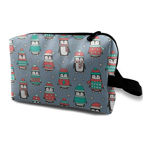Cosmetic bag for purse,Christmas Holiday Winter Penguins In Ugly Sweaters Scarves U0026 Hats Mint Green Red On Dark Blue Navy_806,Oxford cloth Colourful Bag Mini Travel