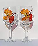 Autumn Orange Oak Leaves & Acorns Hand Painted (Set of 2) Stemmed Wine Glasses Review