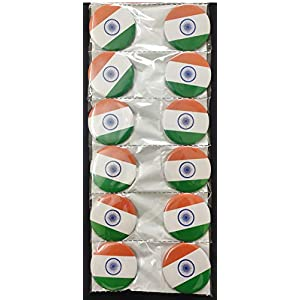 hhumanmakerr Indian Flag Independence Day / Republic Day Round Pin Tiranga / Tricolor Button Badge (Tricolor) – Pack of…