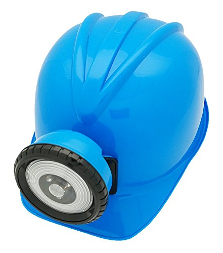 BLUE Explorer Miner Helmet with Bright, Directional LED Lights (batteries included) | Fully Adjustable Toy Hard Hats for Any Age, Available in 6 Vivid (Spelunker Costume)