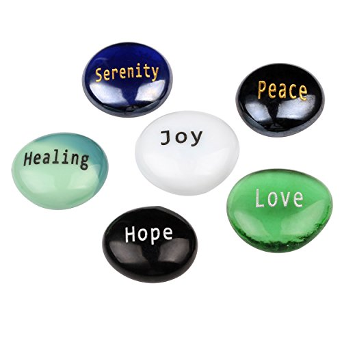 Think Positive – Peace and Focus engraved glass stones set – Model I – by Holy Land Market Review