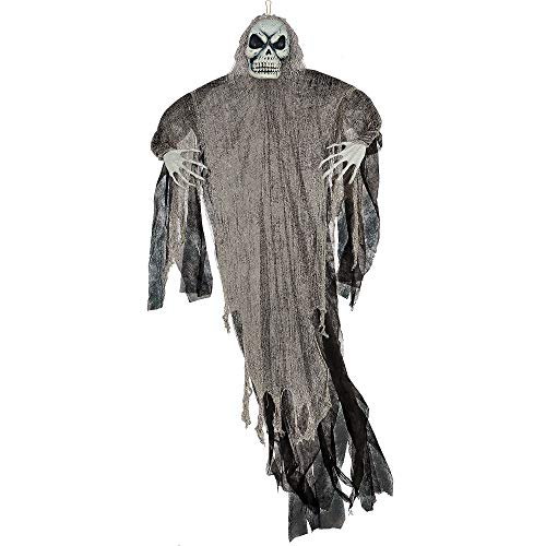 Amscan Giant Grim Reaper Decoration, Hanging Prop Features a Skull Face and Hands, Poseable Arms, Measures 7 Feet Tall