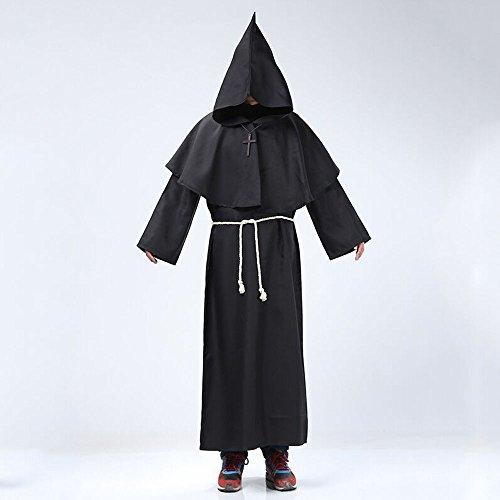 Medieval Priest Monk Robe Hooded Cap Cloak Black - Large