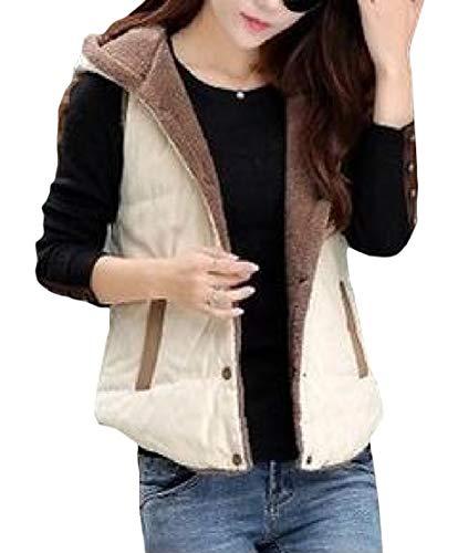Beige amp;E Overcoat Vest H Women's Hoodie Jacket Slim Warm Thick Fit Fleece Short z474dw